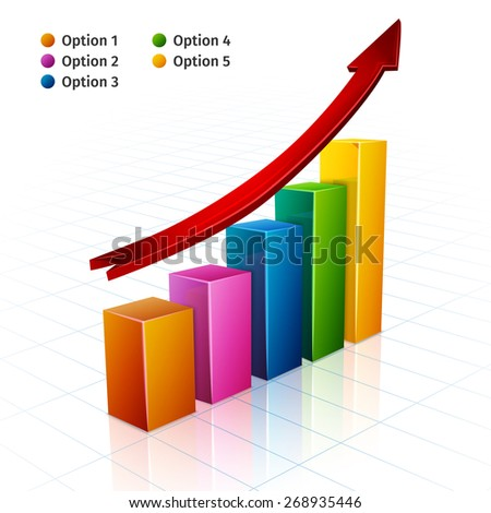 Business bar graph with growth arrow sign 3d vector illustration - stock vector