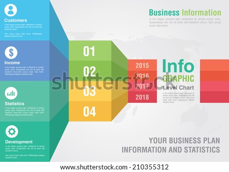 Business bar level step chart infographic. Business report creative marketing. Business success. - stock vector