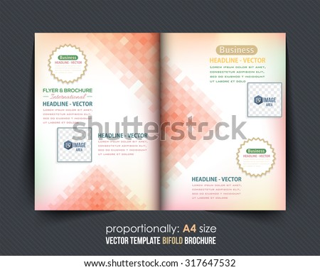 Business Bi-Fold Brochure Design Abstract Square Pattern. Corporate Leaflet, Cover Template - stock vector