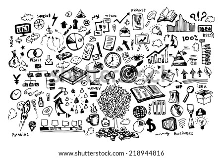 Business black and white doodles - stock vector