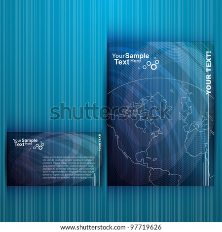 Business Blue Flyer Design, vector - stock vector