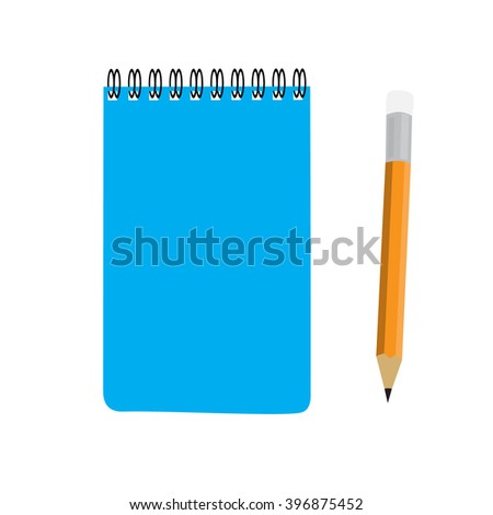 business blue note book and pencil set vector illustration