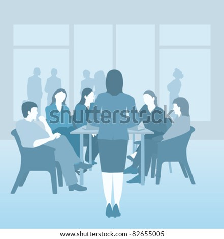 Business, board room or school meeting, blue vector - stock vector