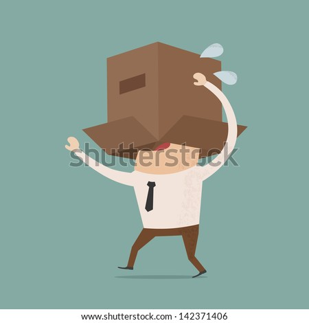 Business body with box  , eps10 vector format - stock vector