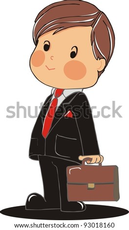 business boy with suitcase - stock vector