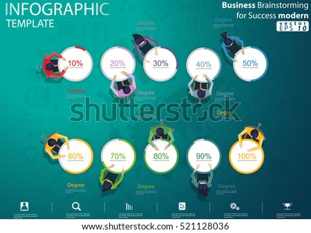 Business Brainstorming for Success modern design Idea and Concept Vector illustration Infographic template with percent, icon.