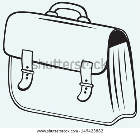 Business briefcase isolated on blue background
