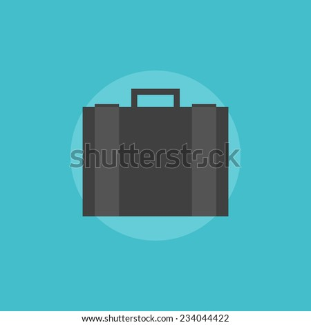 Business briefcase with documents. Flat icon modern design style vector illustration concept. - stock vector
