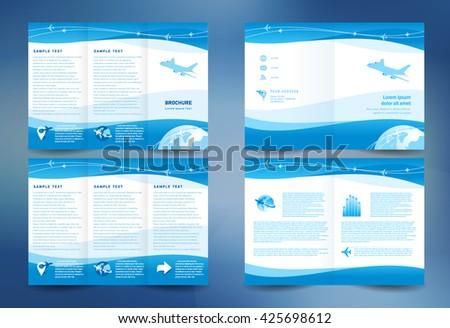 Business brochure design template folder leaflet booklet airplate takeoff transtortation blue color - stock vector