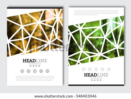 Business brochure design template. Vector flyer layout, blur background for cover, poster card design. A4 size. - stock vector