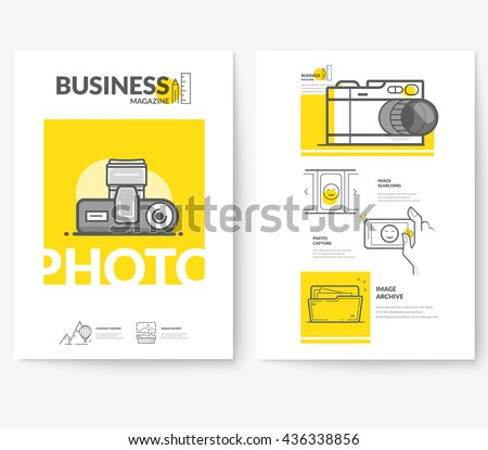 Business brochure flyer design layout template, with concept icons: Photography. - stock vector