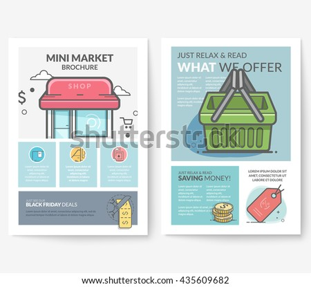 Business brochure flyer design layout template, with concept icons: Shop catalog. - stock vector