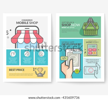 Business brochure flyer design layout template, with concept icons: Technology shop catalog. - stock vector