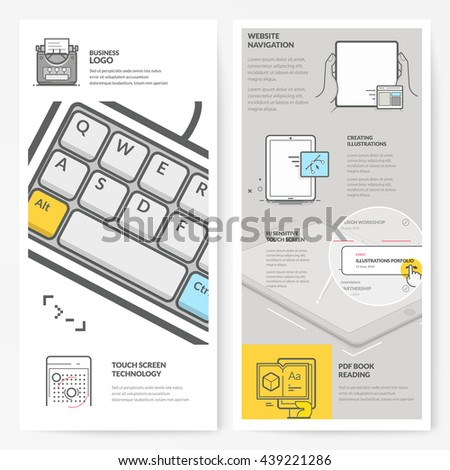 Business brochure flyer design layout template, with concept icons: Touch screen technology  - stock vector