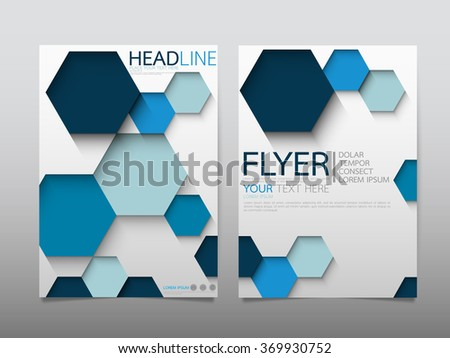 business brochure flyer design template vector.geometric hexagon abstract background.layout in A4 size