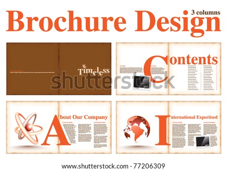 Business Brochure Layout Design Template with 8 pages (4 spreads) Preview. - stock vector