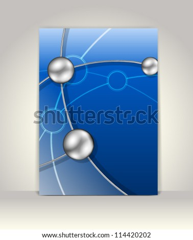 Business brochure template, abstract technology design - stock vector