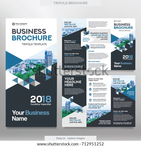 Business brochure template tri fold layout stock vector royalty business brochure template in tri fold layout corporate design leaflet with replacable image wajeb Image collections