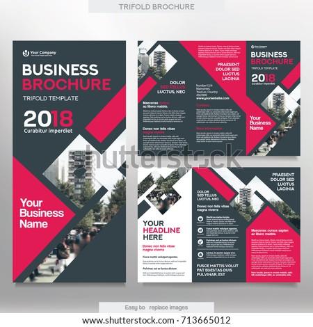Business Brochure Template Tri Fold Layout Stock Photo Photo