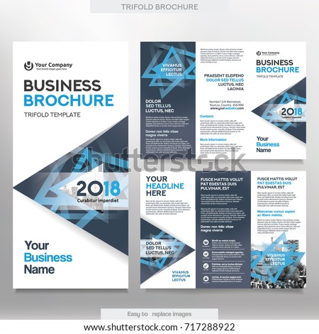 Business brochure template tri fold layout stock vector 717288922 business brochure template in tri fold layout corporate design leaflet with replacable image wajeb
