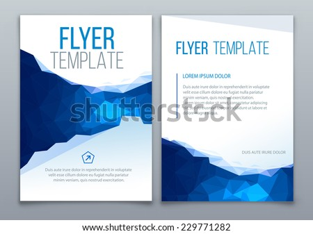 Business Brochure Template With Triangle Geometric Background - stock vector