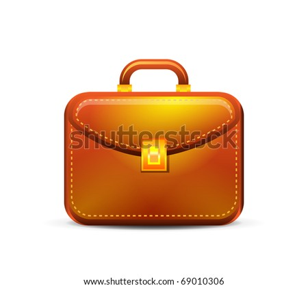 Business brown briefcase on white