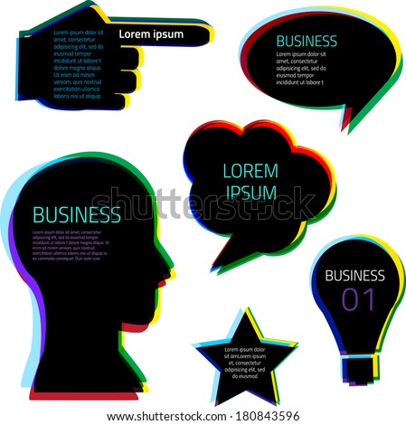 Business bubble set, idea, vector illustration, bright color - stock vector