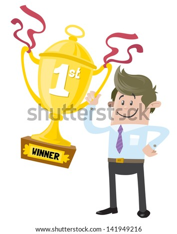 Business Buddy wins a First Prize trophy  - stock vector