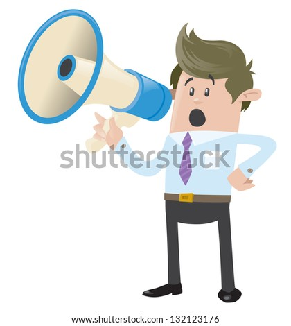 Business Buddy with Loudspeaker - stock vector