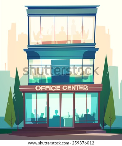 Business building facade. Vector illustration. - stock vector