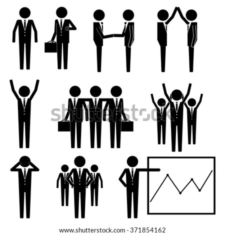 Business Businessman Group Workforce Worker Human Resources Stick Figure Pictogram Icon  - stock vector