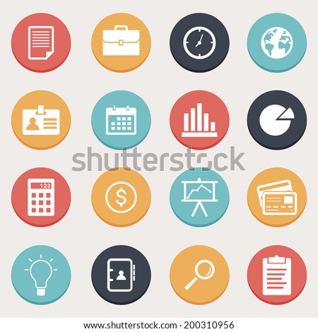 Business Button Set - stock vector