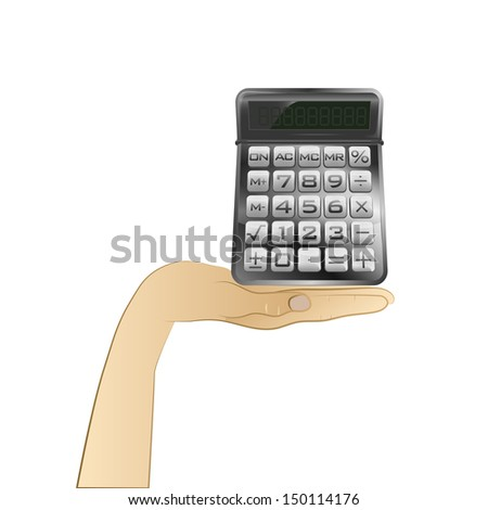 business calculator in your hand vector illustration
