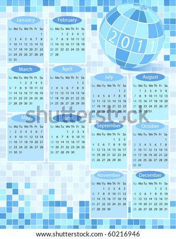 Business calendar for 2011 year - stock vector