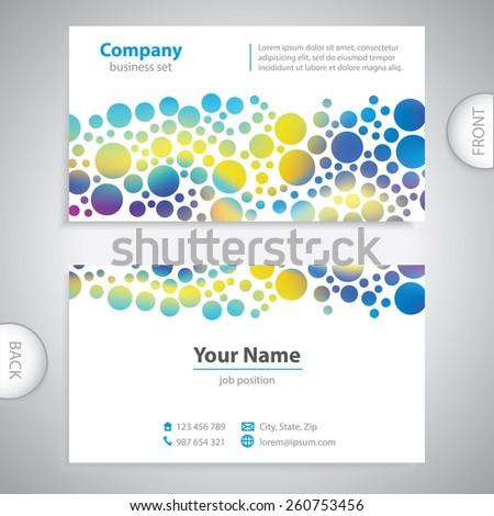 business card - Abstract circular pattern - company presentations - stock vector