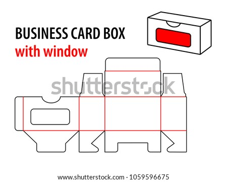 Business card box window die cut stock vector 2018 1059596675 business card box with window die cut template box visiting card vector isolated circuit accmission Image collections
