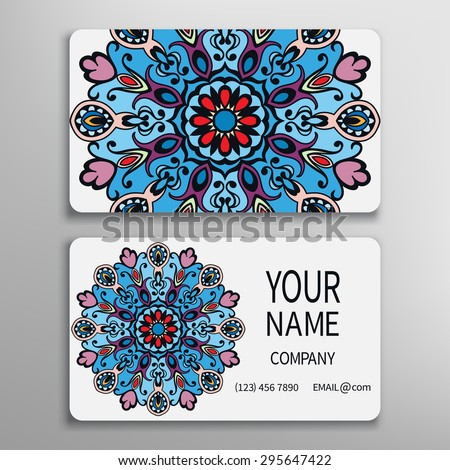 Business card, decorative ornamental invitation collection. Hand drawn Mandala Islam Arabic Indian pattern - stock vector