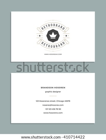 Business card design retro style template stock vector 410714422 business card design and retro style template and king crown logo vector design element vintage colourmoves