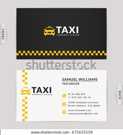 Business card design black white yellow stock vector 671635558 business card design in black white and yellow colors vector template for taxi company reheart Choice Image