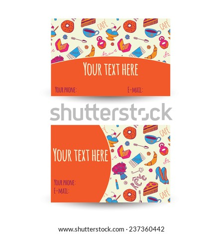 Business card design. Words in french: dream, love, coffee. - stock vector