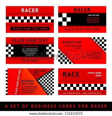 Business card driver race - third set, vector illustration 10eps - stock vector