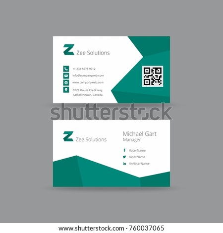Business card having zigzag borders dark stock vector hd royalty business card having zigzag borders in dark teal and white colors and black typography reheart Image collections