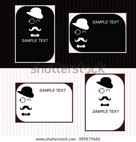 Business card in retro style with a man in a hat with a mustache , glasses and a bow tie.Vector flyer , poster, banner, booklet. - stock vector