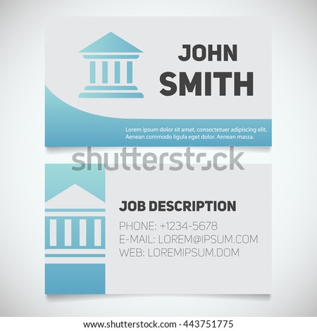 business card print template courthouse logo stock vector royalty