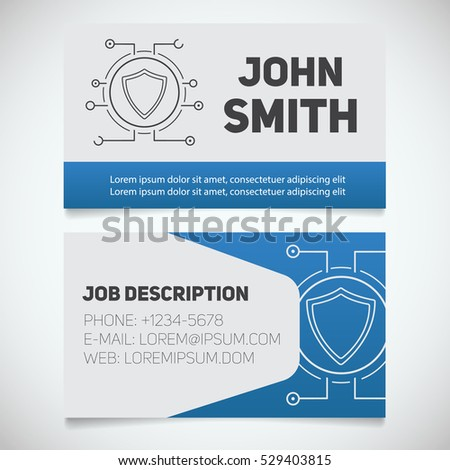 Business Card Print Template Protection Shield Stock Vector ...