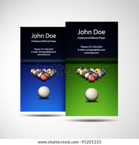 Business Card Professional Billiards Player
