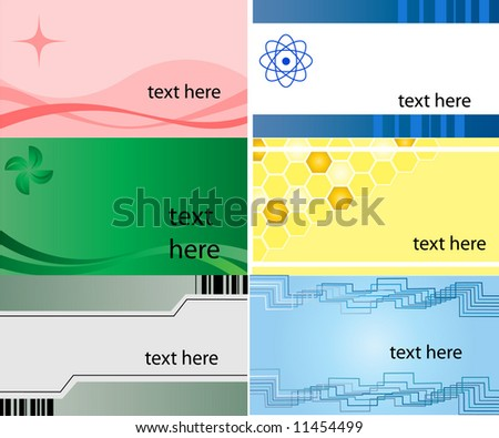 Business Card, set of 6 different design - stock vector