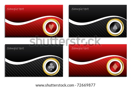 Business card set with poker design - stock vector