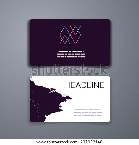 Business card template abstract vector template stock vector business card template abstract vector template layout design for flyer placard brochure or reheart Image collections