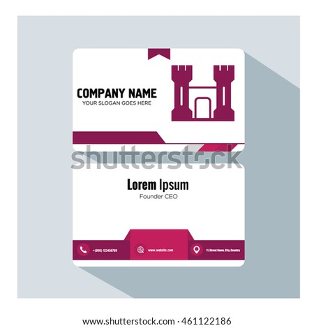 business card template. castle icon